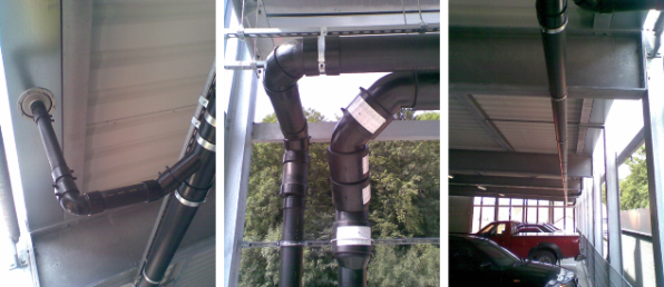 akasison-Dachentwässerungssystem mit Druckströmung – Parkhaus in Kaufbeuren