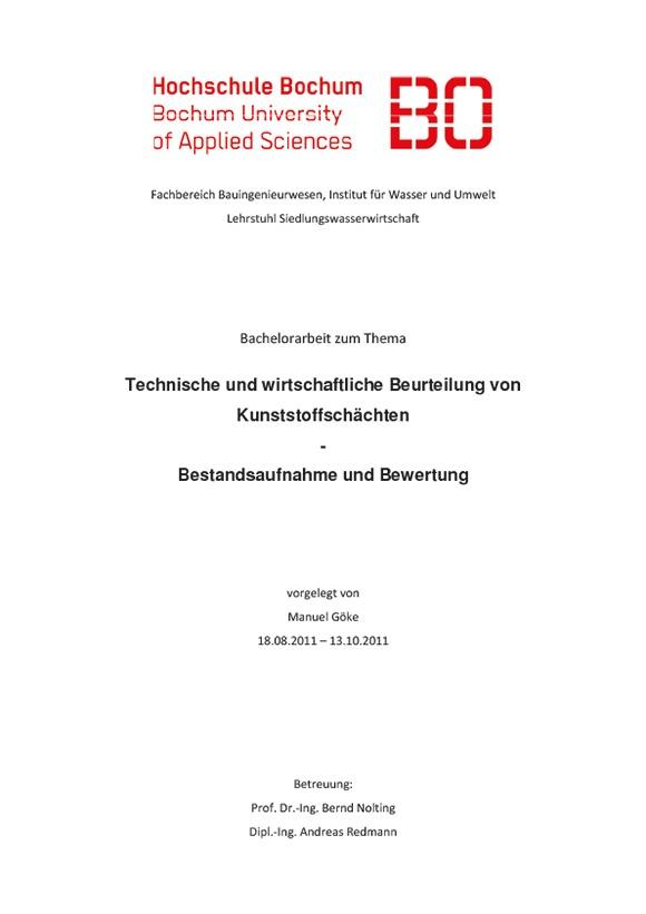 """Bachelorarbeit """"Technische und wirtschaftliche Beurteilung von Kunststoffschächten"""""""